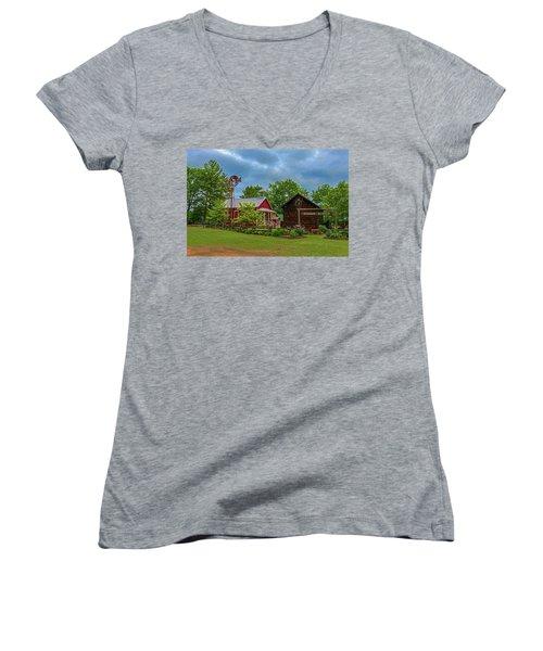 Rosholt Pioneer Park Women's V-Neck T-Shirt (Junior Cut) by Trey Foerster