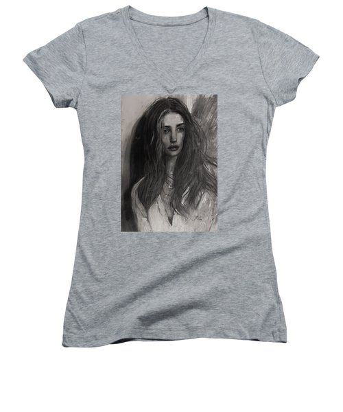 Women's V-Neck T-Shirt (Junior Cut) featuring the painting Rosie Huntington-whiteley by Jarko Aka Lui Grande