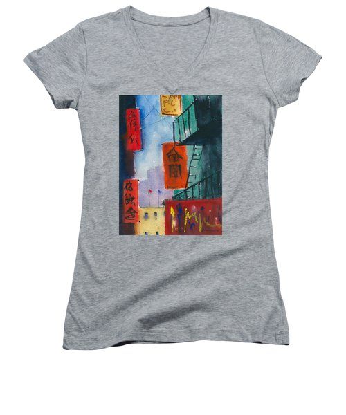 Ross Alley, Chinatown Women's V-Neck T-Shirt