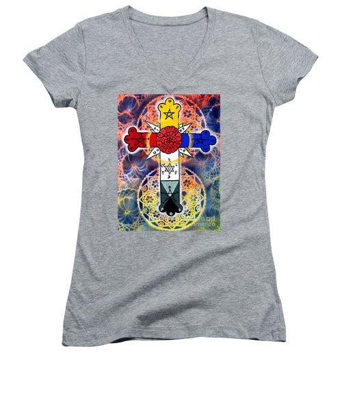 Rosy Cross Women's V-Neck T-Shirt