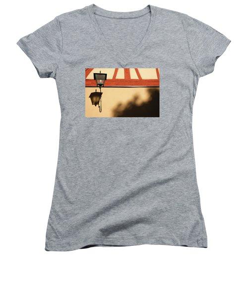 Women's V-Neck T-Shirt (Junior Cut) featuring the photograph Rotenburg Lantern by KG Thienemann