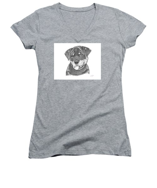 Women's V-Neck T-Shirt (Junior Cut) featuring the drawing Rottweiler Puppy- Chloe by Patricia Hiltz