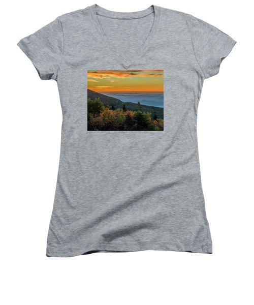 Rough Morning - Blue Ridge Parkway Sunrise Women's V-Neck