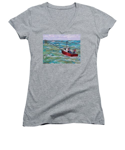 Rough Sea Women's V-Neck T-Shirt (Junior Cut) by Mike Caitham
