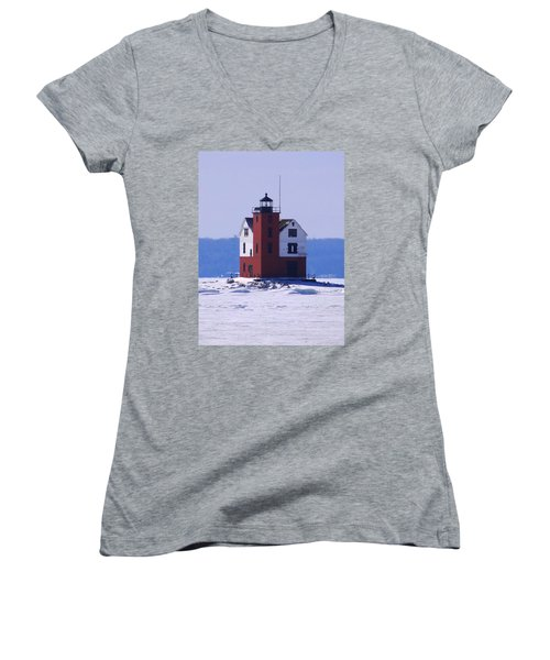 Round Island 2 Women's V-Neck T-Shirt (Junior Cut) by Keith Stokes