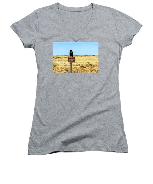 Rout 66 Watch Women's V-Neck T-Shirt (Junior Cut) by Menachem Ganon