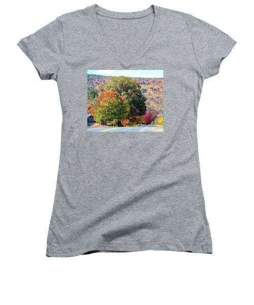 Women's V-Neck featuring the photograph Route 66 Autumn Drive by Sven Kielhorn