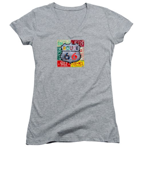 Route 66 Highway Road Sign License Plate Art Women's V-Neck T-Shirt (Junior Cut) by Design Turnpike