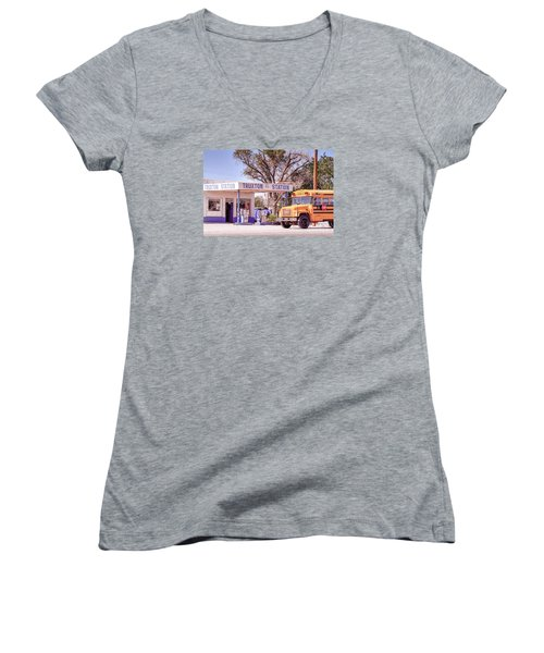 Women's V-Neck T-Shirt (Junior Cut) featuring the photograph Route 66 Impression by Juergen Klust