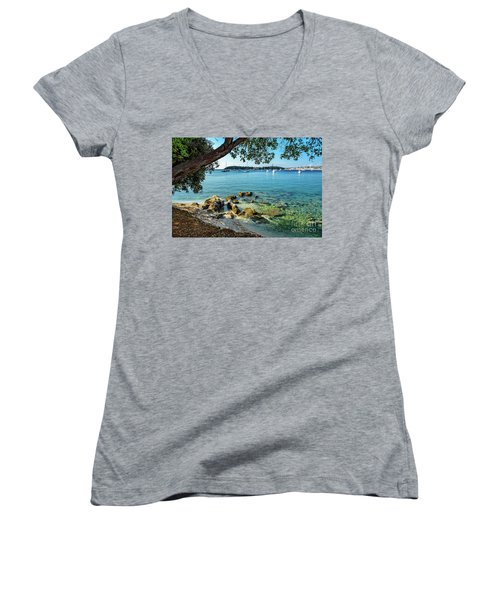 Rovinj Old Town, Harbor And Sailboats Accross The Adriatic Through The Trees Women's V-Neck