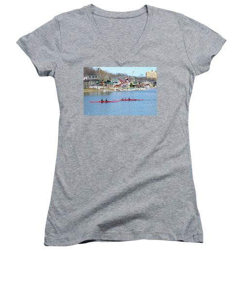 Rowing Along The Schuylkill River Women's V-Neck