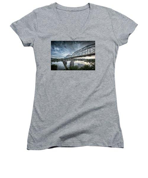 Rowing Under Walnut Street Women's V-Neck T-Shirt (Junior Cut) by Steven Llorca