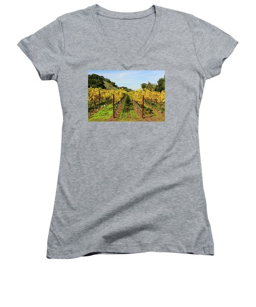 Rows Of Grapevines In Napa Valley California Women's V-Neck