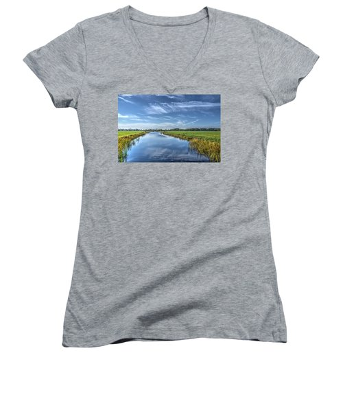 Royal Canal And Grasslands Women's V-Neck T-Shirt