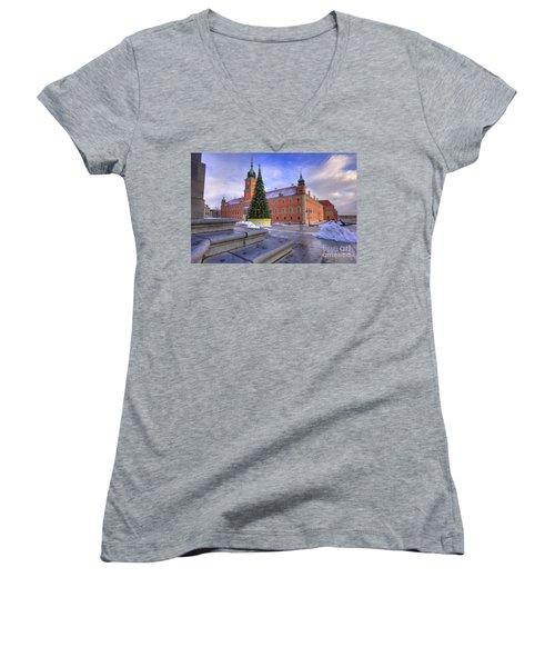 Women's V-Neck T-Shirt (Junior Cut) featuring the photograph Royal Castle by Juli Scalzi