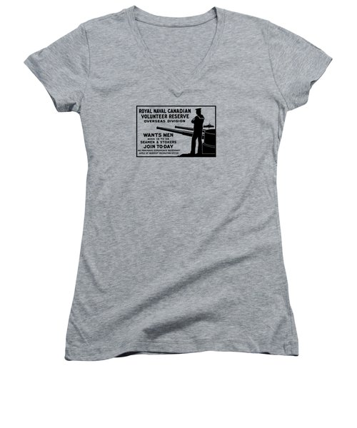Women's V-Neck T-Shirt (Junior Cut) featuring the mixed media Royal Naval Canadian Volunteer Reserve by War Is Hell Store