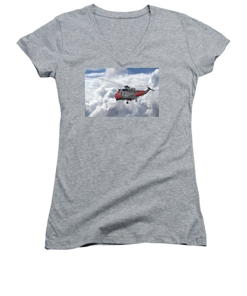 Women's V-Neck T-Shirt (Junior Cut) featuring the photograph Royal Navy - Sea King by Pat Speirs