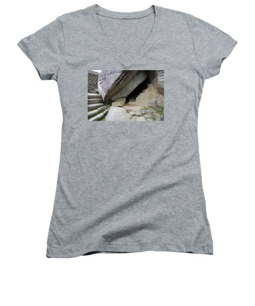 Royal Tomb, Machu Picchu, Peru Women's V-Neck T-Shirt (Junior Cut) by Aidan Moran