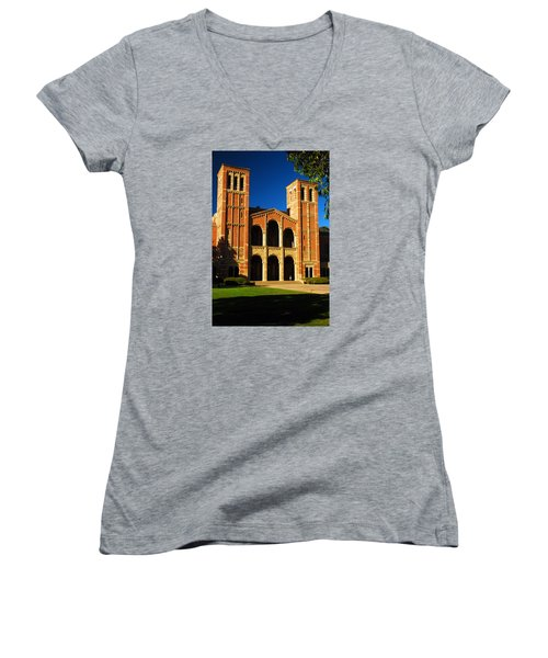 Royce Hall Ucla Women's V-Neck T-Shirt (Junior Cut) by James Kirkikis