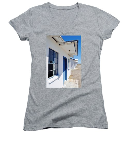 Roy's Motel And Cafe Auto Court Women's V-Neck T-Shirt (Junior Cut) by Kyle Hanson