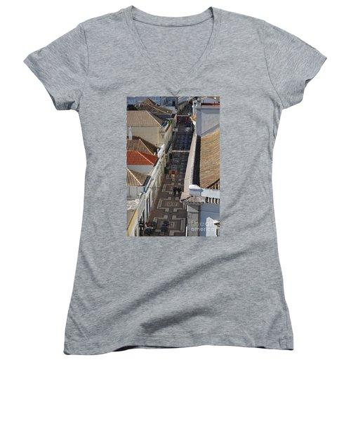 Rua Do Crime In Faro Women's V-Neck T-Shirt (Junior Cut) by Angelo DeVal