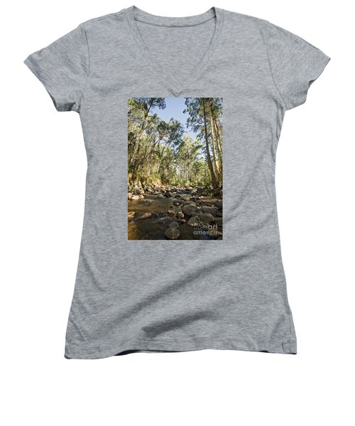 Women's V-Neck T-Shirt (Junior Cut) featuring the photograph Rubicon River by Linda Lees