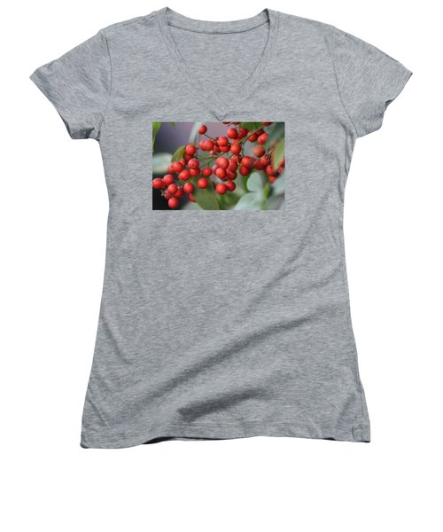 Ruby Red Berries Women's V-Neck (Athletic Fit)