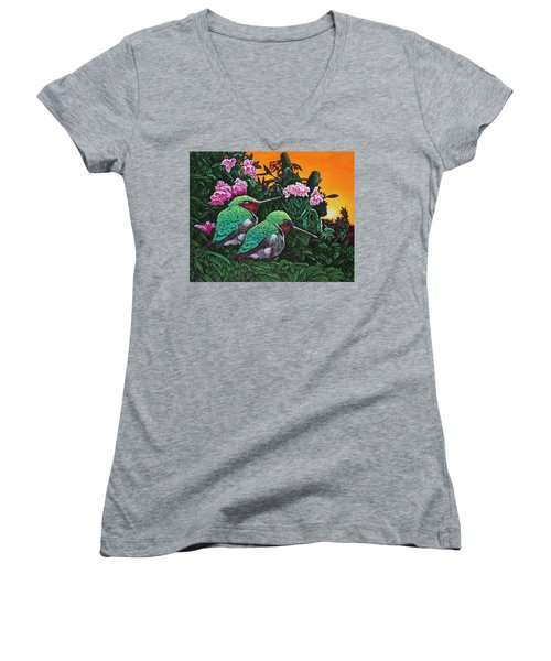 Women's V-Neck T-Shirt (Junior Cut) featuring the painting Ruby-throated Hummingbirds by Michael Frank