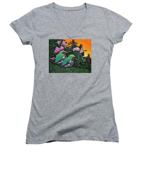 Ruby-throated Hummingbirds Women's V-Neck T-Shirt (Junior Cut) by Michael Frank