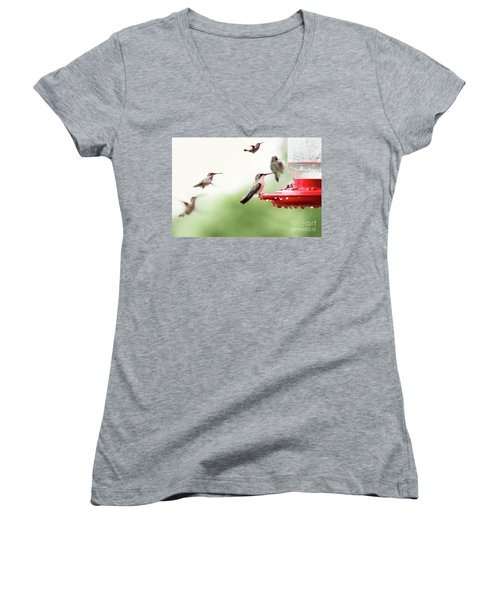 Women's V-Neck T-Shirt (Junior Cut) featuring the photograph Ruby-throated Hummingbirds by Stephanie Frey