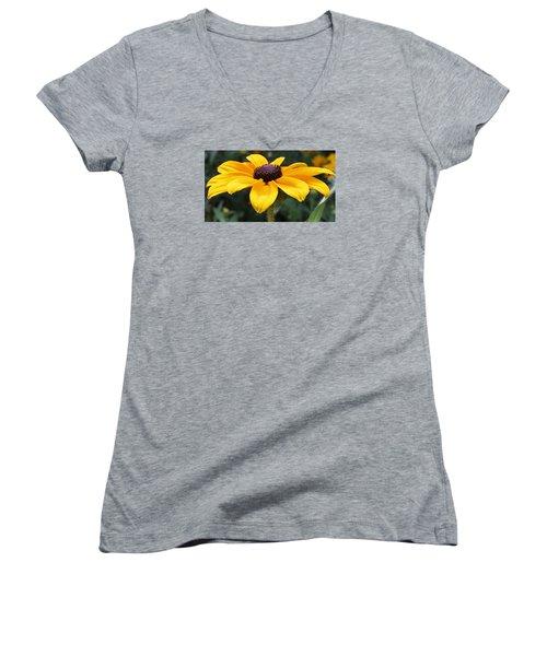 Rudbeckia Bloom Up Close Women's V-Neck T-Shirt (Junior Cut) by Bruce Bley