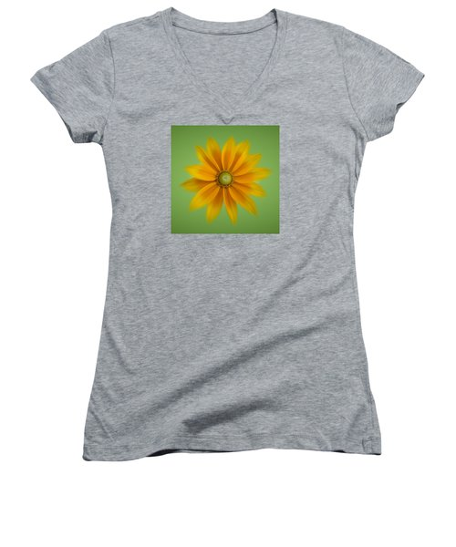 Rudbeckia Blossom Irish Eyes - Square Women's V-Neck T-Shirt (Junior Cut) by Patti Deters