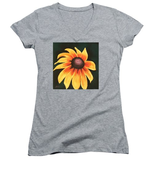 Women's V-Neck T-Shirt featuring the painting Rudbeckia Hirta by Anastasiya Malakhova