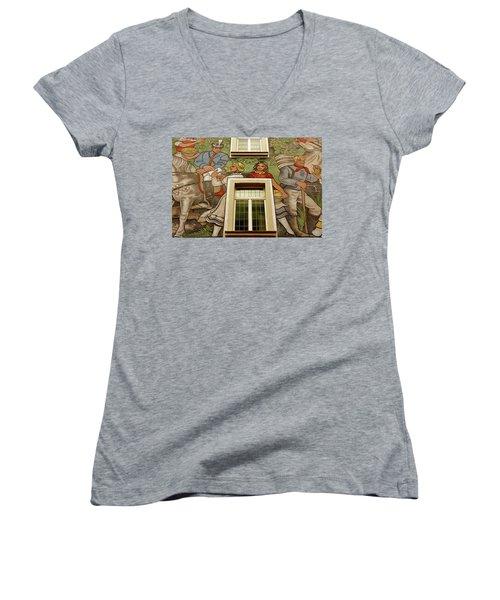 Women's V-Neck T-Shirt (Junior Cut) featuring the photograph Rudesheim Mural by KG Thienemann