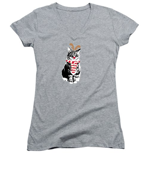 Rudolph The Red Nosed Cat- Art By Linda Woods Women's V-Neck (Athletic Fit)