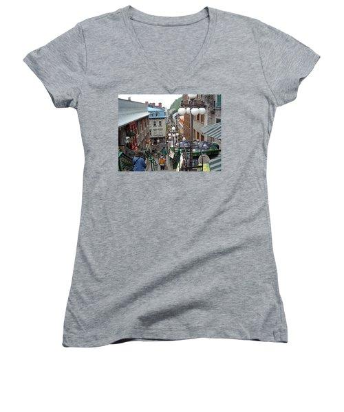 Women's V-Neck T-Shirt featuring the photograph rue du Petit Champlain by John Schneider