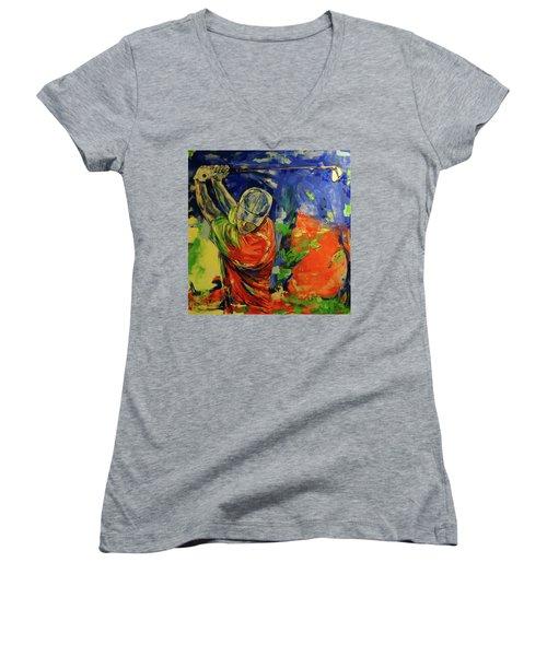 Rueckschwung   Backswing Women's V-Neck T-Shirt (Junior Cut) by Koro Arandia
