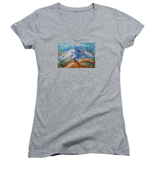 Rugged Terrain Women's V-Neck T-Shirt (Junior Cut) by Becky Chappell