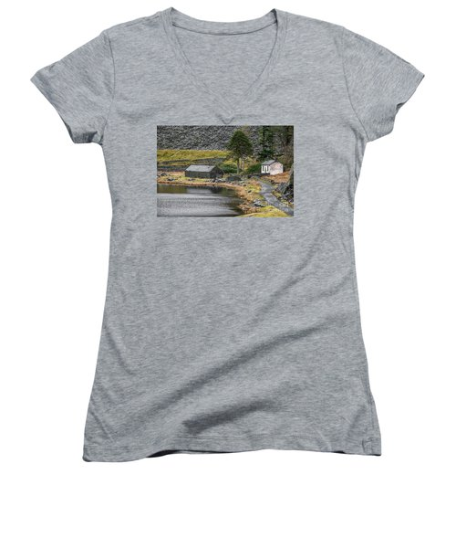 Women's V-Neck T-Shirt (Junior Cut) featuring the photograph Ruins At Cwmorthin by Adrian Evans