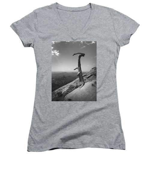 Ruins Of A Tree At Table Rock Trail Overlook Two Women's V-Neck T-Shirt (Junior Cut) by Kelly Hazel