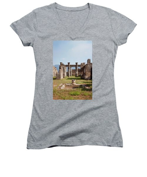 Ruins Of Pompeii Women's V-Neck T-Shirt (Junior Cut) by Ivete Basso Photography