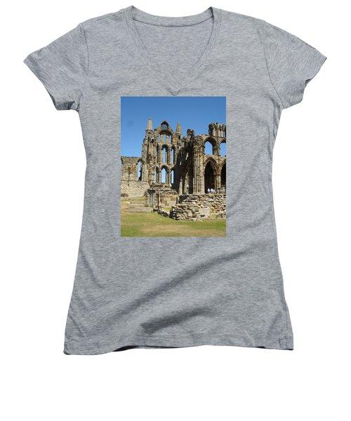 Ruins Of Whitby Abbey Women's V-Neck T-Shirt