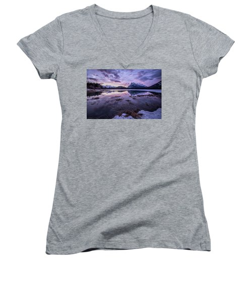 Rundle Mountain Skies Women's V-Neck T-Shirt