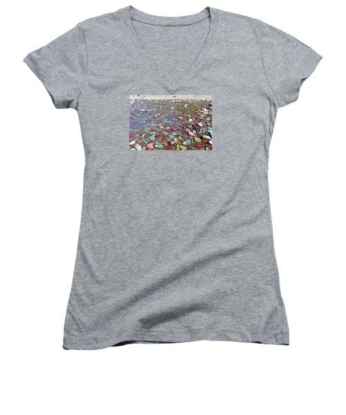Running Eagle Falls Women's V-Neck T-Shirt (Junior Cut) by Dacia Doroff