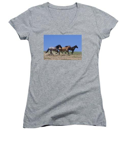 Running Free- Wild Horses Women's V-Neck