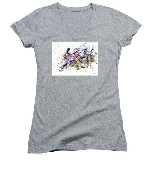 Running Hare Women's V-Neck T-Shirt (Junior Cut) by Zaira Dzhaubaeva