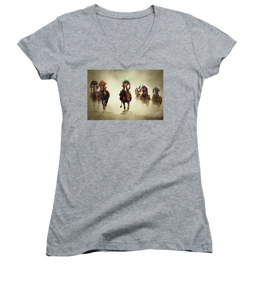 Running Horses In Dust Women's V-Neck (Athletic Fit)