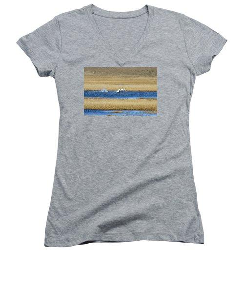 Running On Water Women's V-Neck T-Shirt (Junior Cut) by Anthony Jones