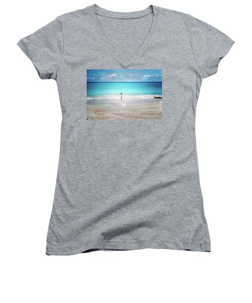 Running To The Sea Women's V-Neck T-Shirt
