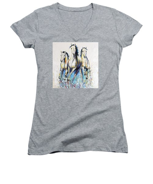 Running With The Herd Horse Painting Women's V-Neck T-Shirt (Junior Cut)